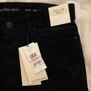 New Men's Calvin Klein Black Slim Jeans W32 L30